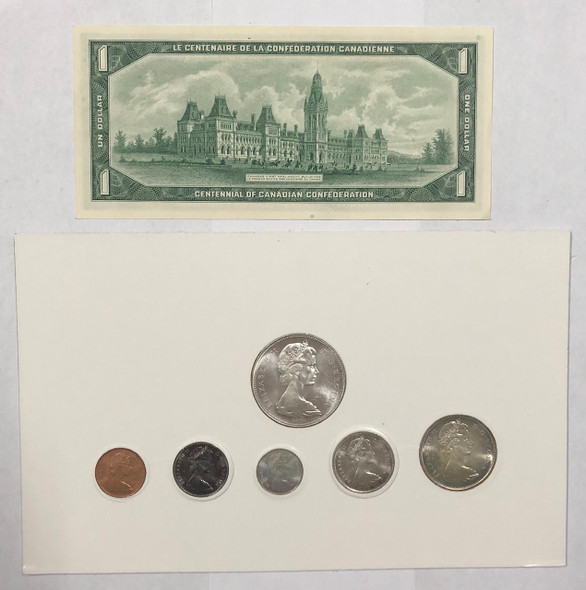 Canada: 1967 Commemorative Silver Coin Set + $1 Banknote in Black Colourful Display Case