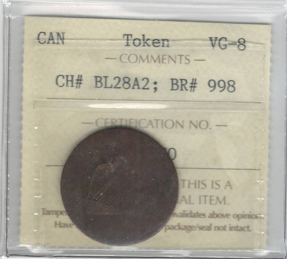 Canada Ships & Colonies Black Smith Token CH# BL28A2 ICCS VG8