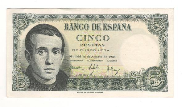 Spain: 1951 5 Peseta Banknote P140