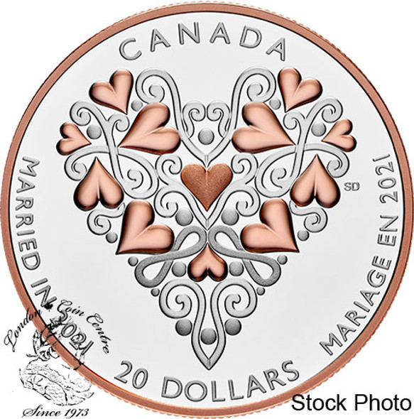 Canada: 2021 $20 Best Wishes on Your Wedding Day! Fine Silver Coin