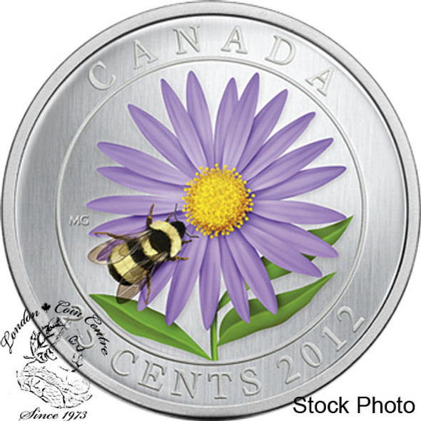 Canada: 2012 25 Cents Aster with Bumble Bee