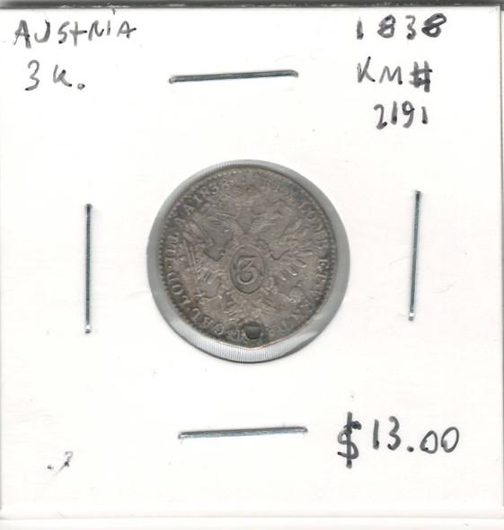 Austria: 1838 3 Kreuzer Holed
