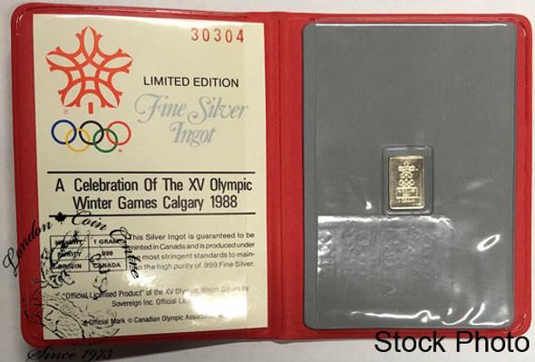 Canada: 1988 Calgary Olympic 1 Gram Silver Ingot in Folder
