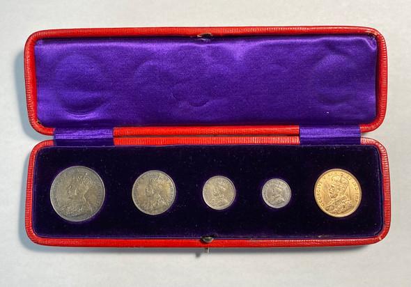 Canada: 1911 Specimen Coin Set in Original Red Moroccan Leather Case