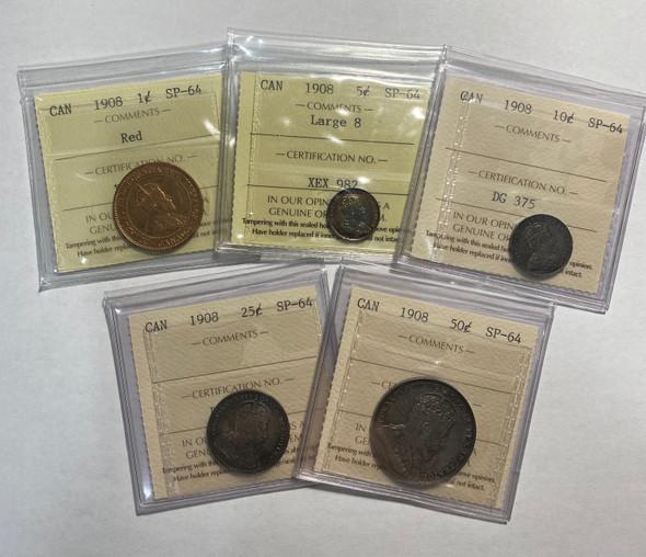 Canada: 1908 Specimen Coin Set ICCS SP64