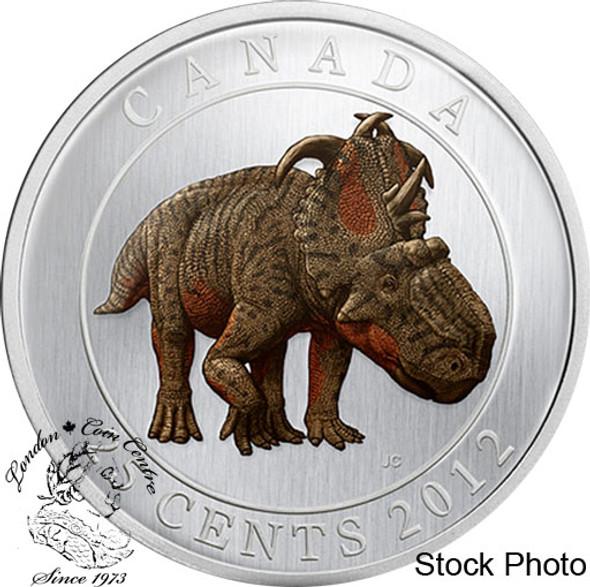 Canada: 2012 25 Cents Pachyrhinosaurus Lakustai Dinosaur Glow in the Dark Coin