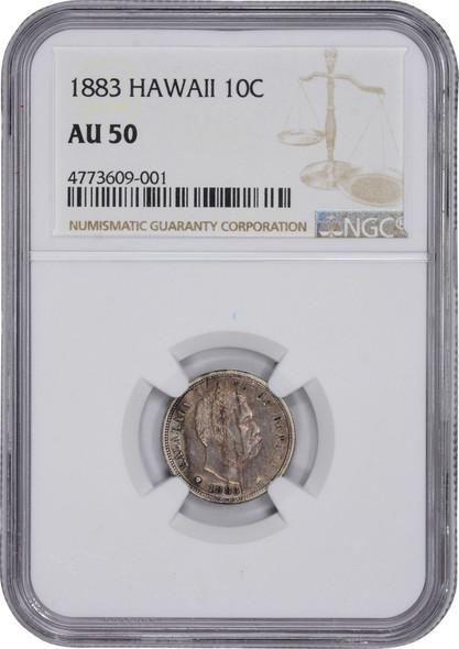 United States: Hawaii: 1883 10 Cent Kalakaua I NGC AU50