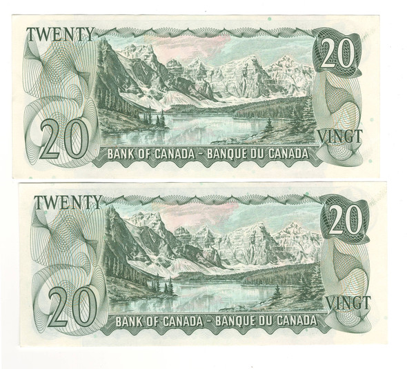 Canada: 1969 $20 Bank of Canada 2 Banknotes Consecutive in Sequence BC-50b