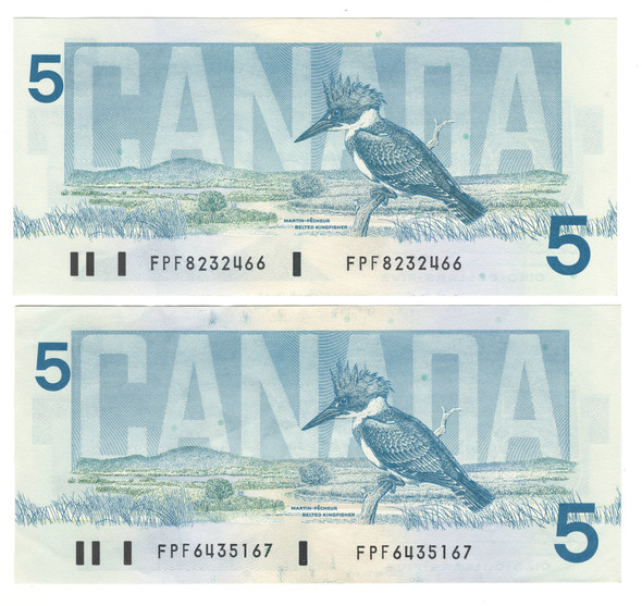 Canada: 1986 $5 Bank Of Canada 2 Banknotes Consecutive in Sequence BC-56b