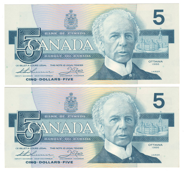 Canada: 1986 $5 Bank Of Canada 2 Banknotes Consecutive in Sequence BC-56b Lot#2
