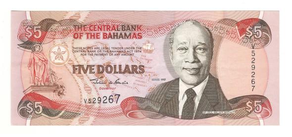 Bahamas: 1997 5 Dollar Banknote