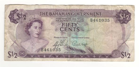 Bahamas: 1965 50 Cent Banknote