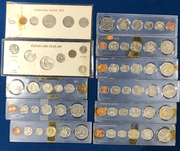 Canada: 1968 - 1978 Coin Set Collection Lot (11 Pieces) includes Silver