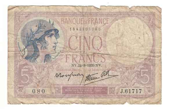 France: 1939 5 Francs Banknote Lot#2