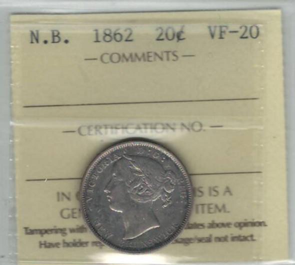 Canada: New Brunswick: 1862 20 Cents ICCS VF20