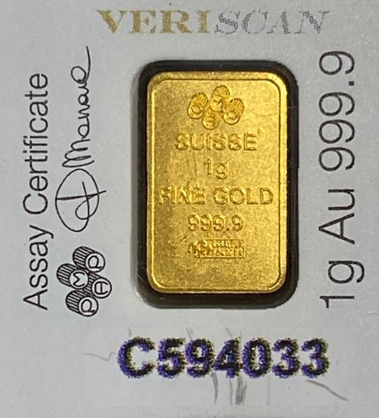 1 Gram .9999 Pure Gold Bar Pamp Swiss