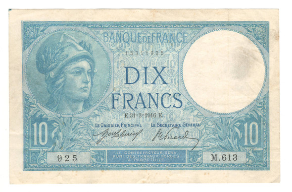 France: 1916 10 Francs Banknote P. 73A