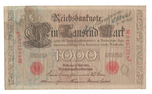 Germany: 1910 1000 Mark Banknote with Writing