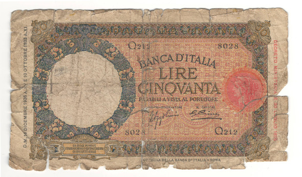 Italy: 1933 50 Lire Banknote