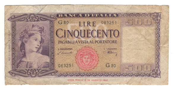 Italy: 1947 500 Lire Banknote