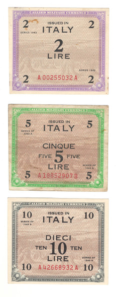 Italy: 1943 Banknote Lot Collection (3 Pieces)