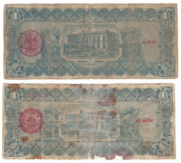 Mexico: Chihuahua: 1914 1 Peso Banknote Lot (2 Pieces)