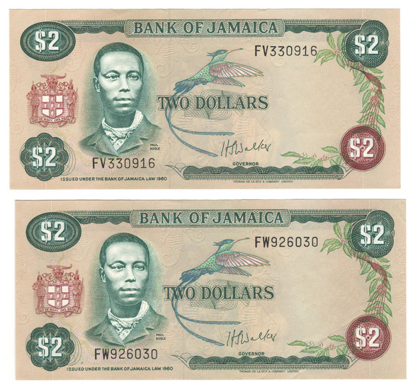 Jamaica: 1976 2 Dollars Banknote Collection Lot (2 Pieces)