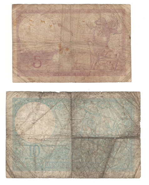 France: 1939 5 &10 Francs Banknotes Collection (2 Pieces)