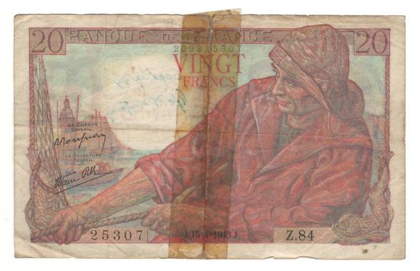 France: 1943 20 Francs Banknote