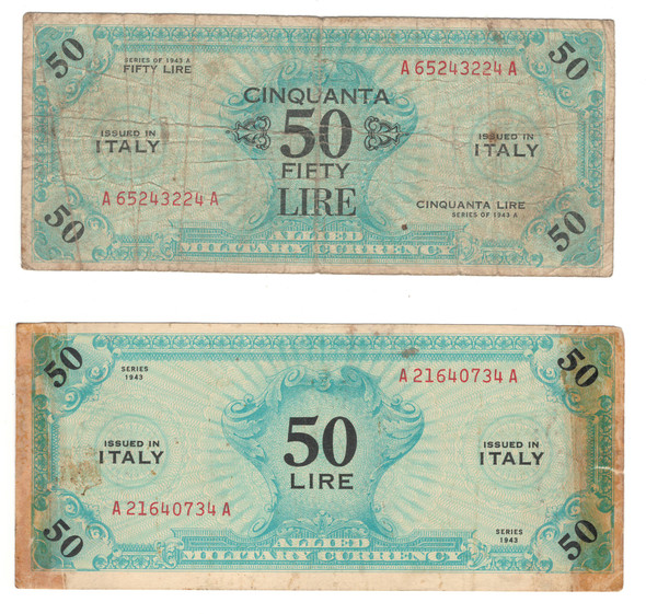 Italy: 1943 50 Lire Banknote Collection Lot (2 Pieces)
