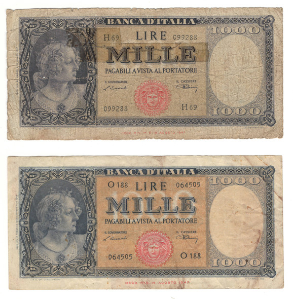 Italy: 1948 1000 Lire Banknote Collection Lot (2 Pieces)