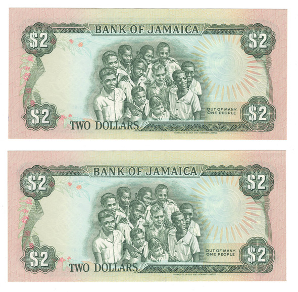 Jamaica: 1987 2 Dollars Banknote Collection Lot (2 Pieces)