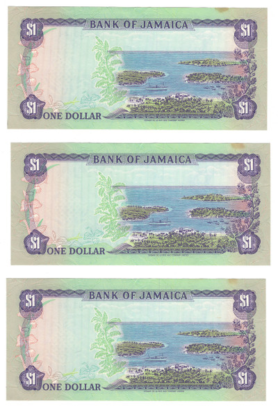 Jamaica: 1976 Dollar Banknote Collection Lot (3 Pieces)