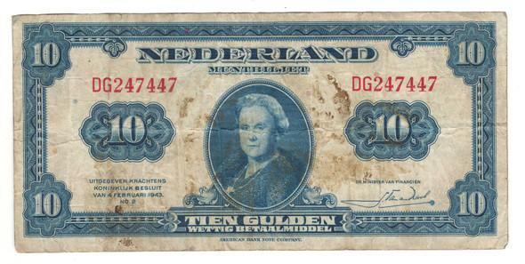Netherlands: 1943 10 Gulden Banknote