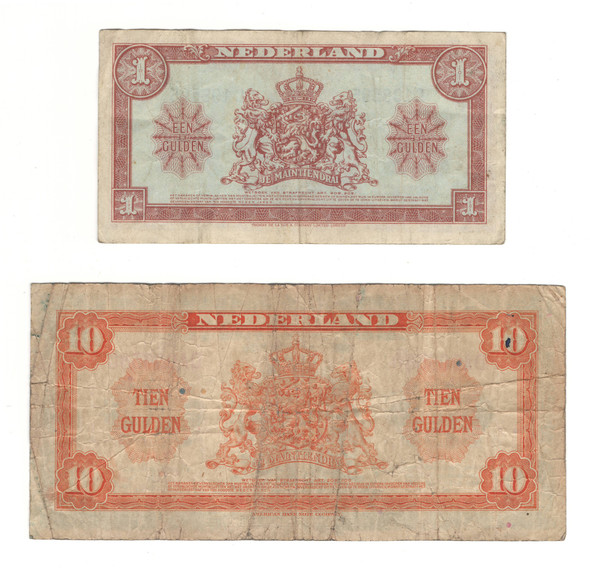 Netherlands: 1943 - 1945 Banknote Collection Lot (2 Pieces)