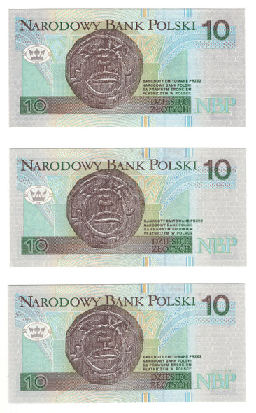 Poland: 1994 10 Zlotych Banknote Collection Lot (3 Pieces)