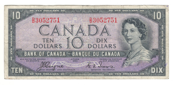 Canada: 1954 $10 Bank Of Canada Devil's Face Banknote BC-32a Lot#2