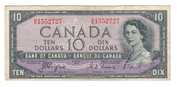 Canada: 1954 $10 Bank Of Canada Devil's Face Banknote BC-32a Lot#3