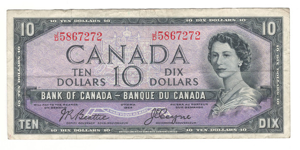 Canada: 1954 $10 Bank Of Canada Devil's Face Banknote BC-32b Lot#6