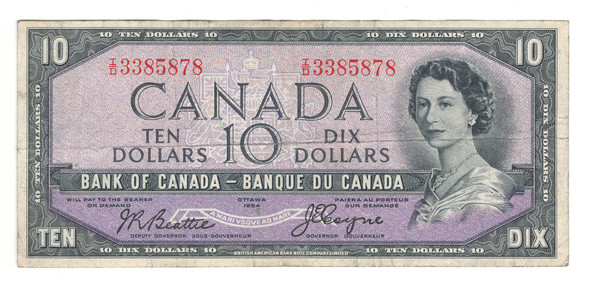 Canada: 1954 $10 Bank Of Canada Devil's Face Banknote BC-32b Lot#10