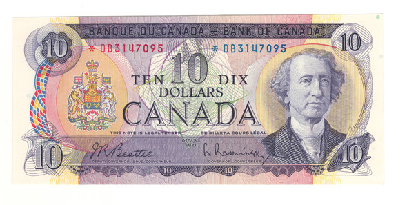 Canada: 1971 $10 Bank Of Canada Replacement Banknote BC-49aA Lot#2