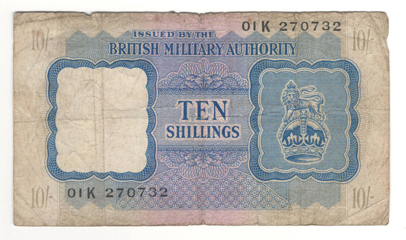 Great Britain: 1943 10 Shilling British Military Authority Banknote