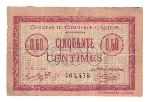 France: 1915 Notgeld Amiens 50 Centimes Banknote