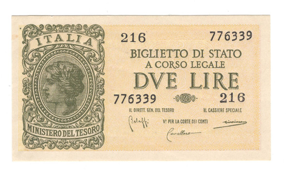 Italy: 1944 2 Lire Banknote