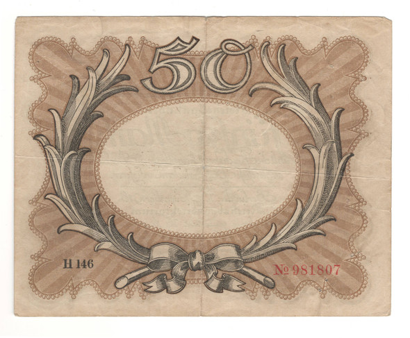 Germany: 1918 50 Mark Banknote