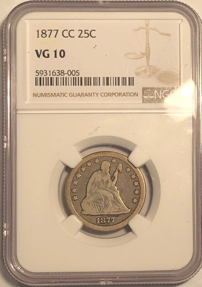 United States: 1877 CC Silver 25 Cent