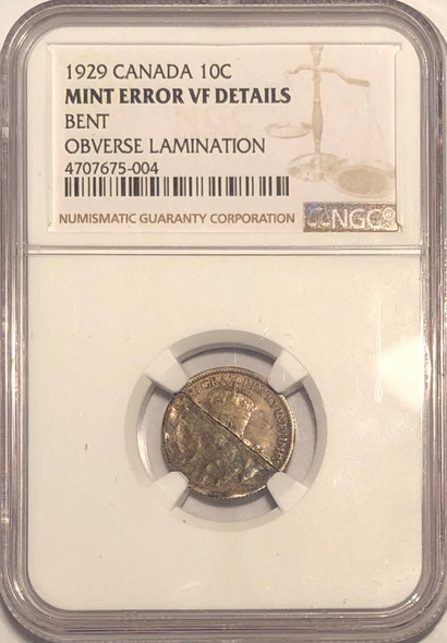 Canada: 1929 10 Cents Mint Error Lamination NGC Certified RARE