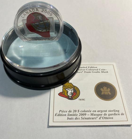 Canada: 2009 $20 Ottawa Senators NHL Hockey Goalie Mask Silver Coin - SCARCE