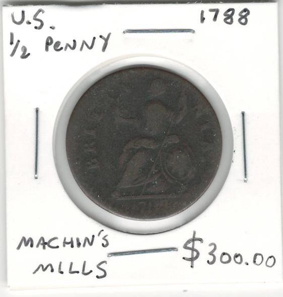 United States: 1788 1/2 Penny Machin's Mills