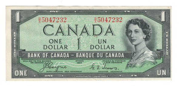 Canada: 1954 $1 Bank Of Canada Banknote Devil's Face B/A Lot#4